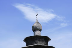Merchant izba in Russia and Church wood Royalty Free Stock Photos