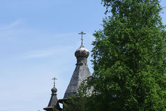 Merchant izba in Russia and Church wood Stock Photos