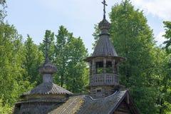 Merchant izba in Russia and Church wood Stock Photo