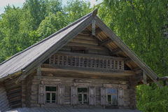 Merchant izba in Russia. Novgorod, Russia,faces an old merchant house, wooden architecture Stock Photos