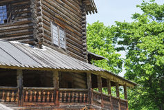 Merchant izba in Russia. Novgorod, Russia,faces an old merchant house, wooden architecture Royalty Free Stock Image