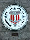 Merchant Marine United States Symbol. Merchant Marine United States emblem on the wall in Kingman, Arizona royalty free stock images