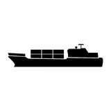 Merchant ship black color icon . Stock Photos