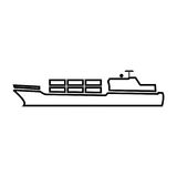 Merchant ship black color icon . Royalty Free Stock Image