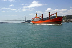 Merchant ship on the Bosphorus Stock Photo