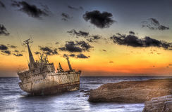 Merchant ship Edro III wrecked in sea cave (Cyprus island) stock image