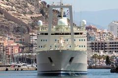 Merchant ship, forward view. Royalty Free Stock Photo