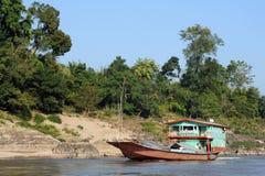 Merchant ship on Mekong River Royalty Free Stock Photos