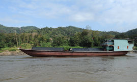 Merchant ship on Mekong River Royalty Free Stock Photography