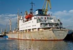 Merchant Ship mooring in Saint Peterburg. Merchant ship Guadalajara with cranes mooring in the harbour of Saint Petersburg in Russia Stock Photography