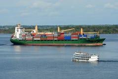Merchant ship and regional vessel Royalty Free Stock Photos