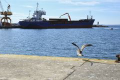 Merchant ship unloading at the dock. In Santa Pola Stock Photo