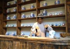 Merchant Wax figure. In Jingdezhen, China Royalty Free Stock Photo