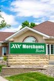 Merchants Bank Exterior and Sign Royalty Free Stock Photos
