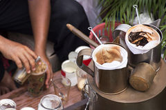 Merchants making coffee on his boat. In the floating Market / selective focus Stock Images