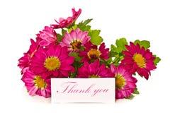 Merci avec des fleurs photographie stock libre de droits