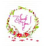 Merci avec des fleurs réglées Photos libres de droits