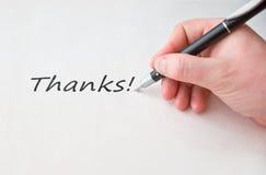 Merci avec la main et le crayon lecteur noir Photos stock