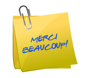 Merci Beaucoup! Sticky note Royalty Free Stock Images