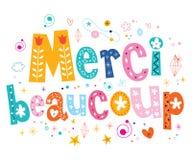 Merci beaucoup tackar dig mycket i fransk bokstäverdesign Arkivfoto