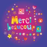 Merci beaucoup thank you very much in French stock illustration