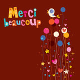 Merci beaucoup thank you very much in French greeting card royalty free illustration