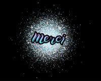 Merci-Beschriftung lokalisiert auf Funkelnhintergrund stock abbildung