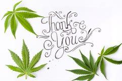 Merci carder avec des feuilles de marijuana photographie stock libre de droits