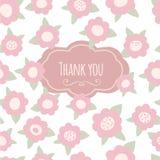 Merci carder floral avec le texte et les fleurs Rose Illustration de Vecteur