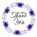 Merci carte avec l'aquarelle circulaire de fleur illustration de vecteur