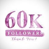 Merci carte de 60 disciples de K des réseaux sociaux Photographie stock libre de droits
