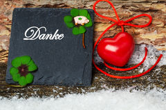 Merci, carte de voeux pour le jour du ` s de Valentine Image stock