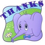 Merci carte postale mignonne, avec l'éléphant illustration libre de droits
