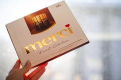 Merci choklad - märke av chokladgodisen som tillverkas av det tyska företaget August Storck som säljs i mer än 70 länder arkivbild