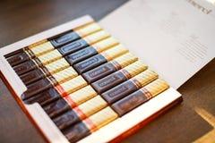 Merci choklad - märke av chokladgodisen som tillverkas av det tyska företaget August Storck som säljs i mer än 70 länder arkivfoto
