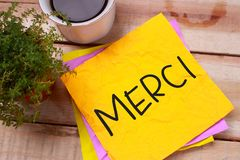 Merci, concept de motivation de citations de mots image libre de droits