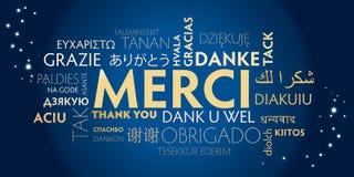 Merci - dank u in het Frans en veel andere talen vector illustratie