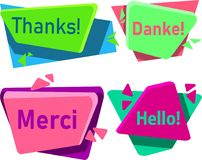Merci, danke, thanks and hello signs isolated on white. royalty free illustration