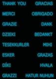 Merci dans beaucoup de langues, dans la couleur bleue images libres de droits
