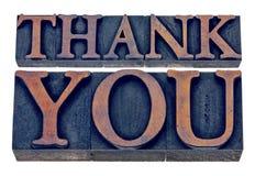 Merci dans le type en bois d'impression typographique photos libres de droits