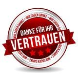 Merci de votre insigne de confiance - Allemand-traduction : Ihr Vertrauen du ¼ r de fà de Danke Photos libres de droits