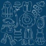 Merci di nuoto di schizzo di scarabocchio per i bambini Illustrazione di vettore insieme Fotografia Stock Libera da Diritti
