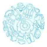 Merci di nuoto di schizzo di scarabocchio per i bambini Illustrazione di vettore nel cerchio insieme Immagini Stock Libere da Diritti