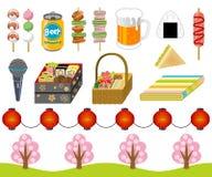 merci di osservazione del Ciliegia-fiore, insieme dell'icona illustrazione di stock