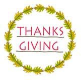 Merci donnant et feuilles de vert en cercle Photos stock