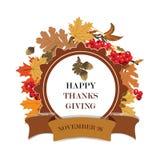 Merci donnant la carte avec des feuilles et des fruits Photo stock