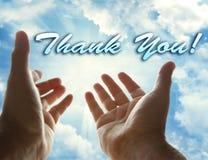Merci et les mains photo stock