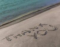 Merci exprimer dessiné sur la rive du Gange Images stock