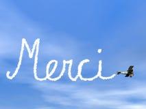 Merci, francese vi ringrazia messaggio, da fumo biplan Immagine Stock
