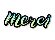 Hand lettering Merci stock illustration